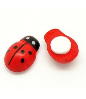 Self-adhesive wooden ladybugs